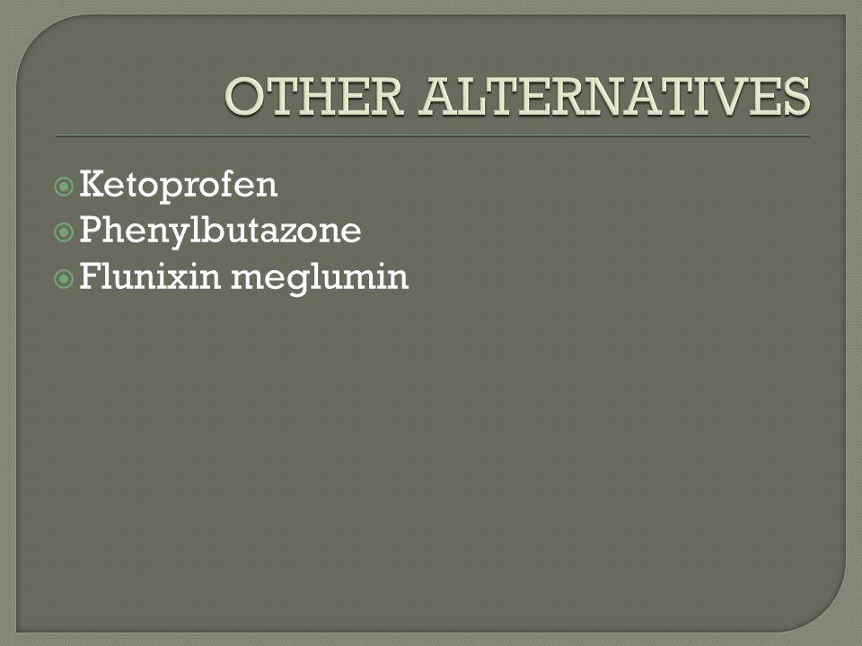  Ketoprofen  Phenylbutazone  Flunixin meglumin