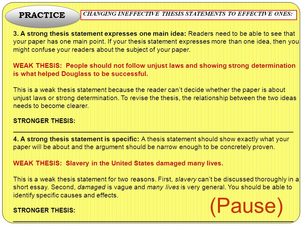 slavery thesis statement examples