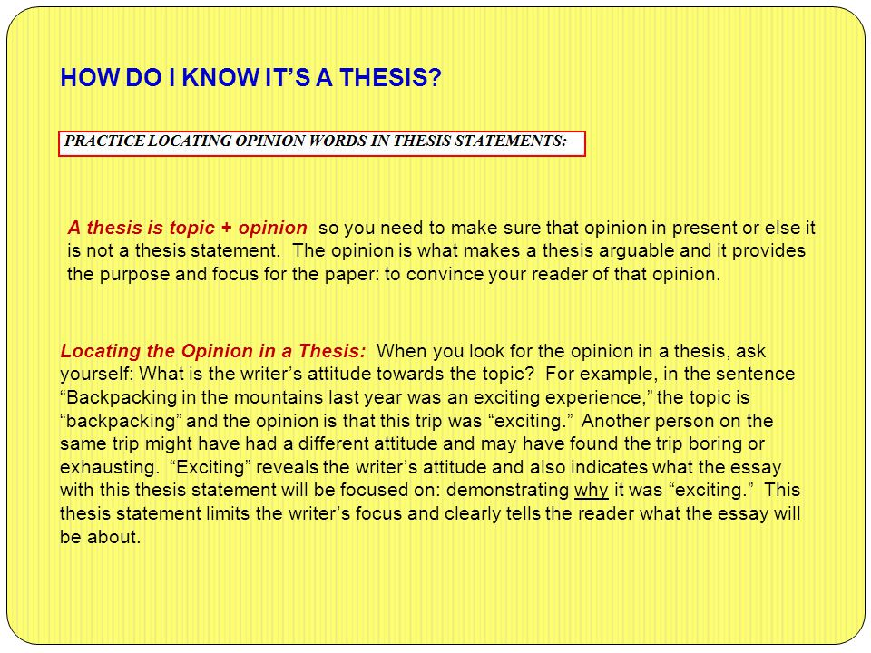 HOW DO I KNOW IT'S A THESIS.