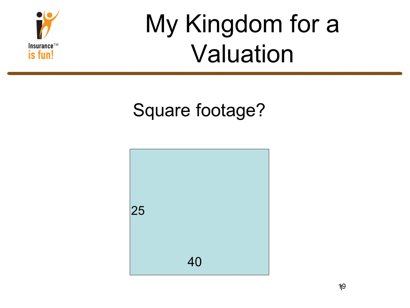 19 My Kingdom for a Valuation Square footage 1 25 40