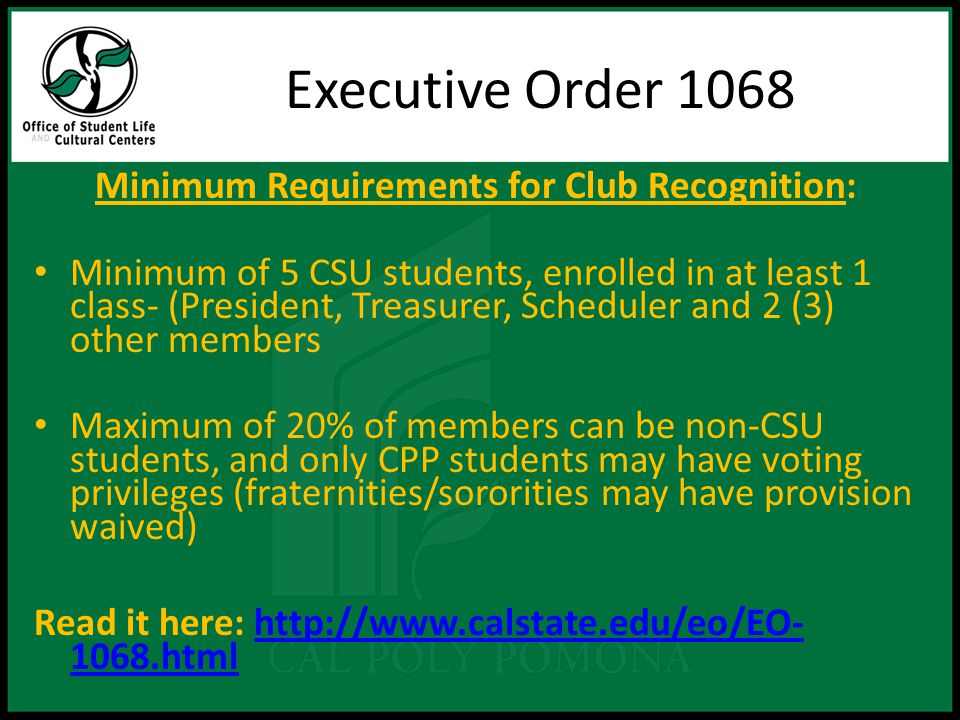 Executive Order 1068 Advisor Eligibility One university advisor is required: – Full or part-time faculty or professional staff (non-auxiliary i.e.