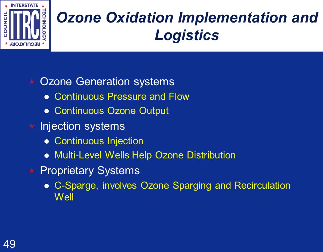 49 Ozone Oxidation Implementation and Logistics  Ozone Generation systems Continuous Pressure and Flow Continuous Ozone Output  Injection systems Continuous Injection Multi-Level Wells Help Ozone Distribution  Proprietary Systems C-Sparge, involves Ozone Sparging and Recirculation Well