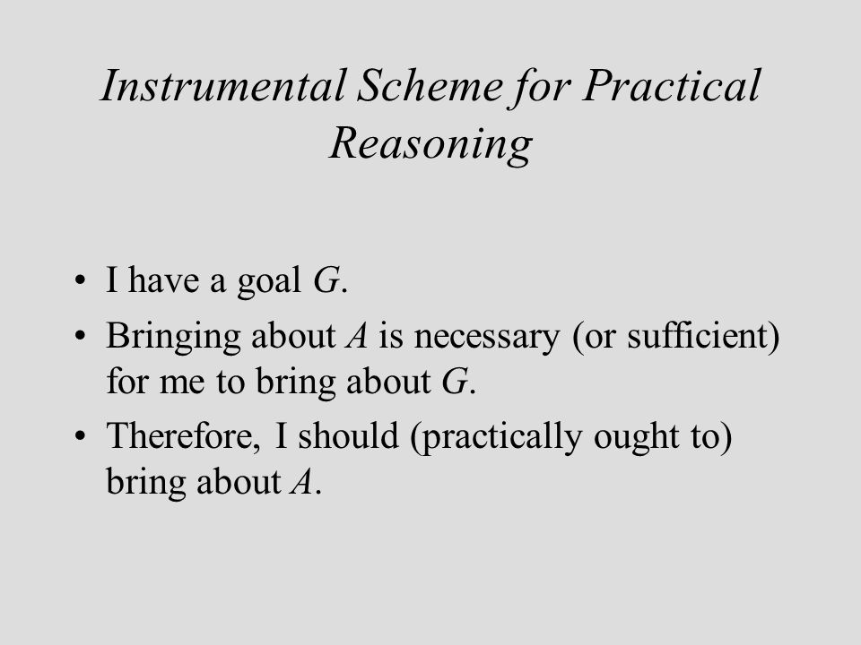 Instrumental Scheme for Practical Reasoning I have a goal G.