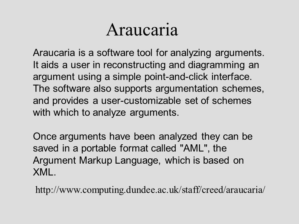 Araucaria Araucaria is a software tool for analyzing arguments.