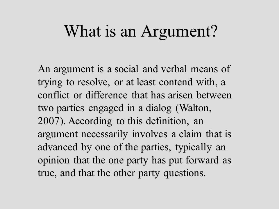 What is an Argument.