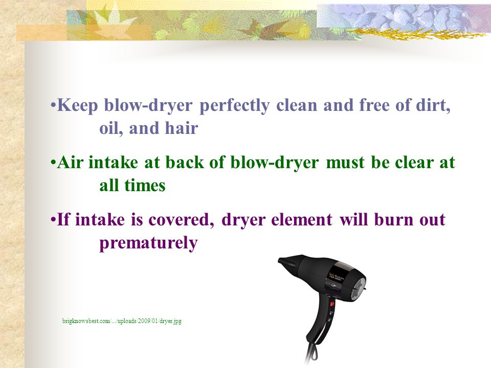 Keep blow-dryer perfectly clean and free of dirt, oil, and hair Air intake at back of blow-dryer must be clear at all times If intake is covered, drye