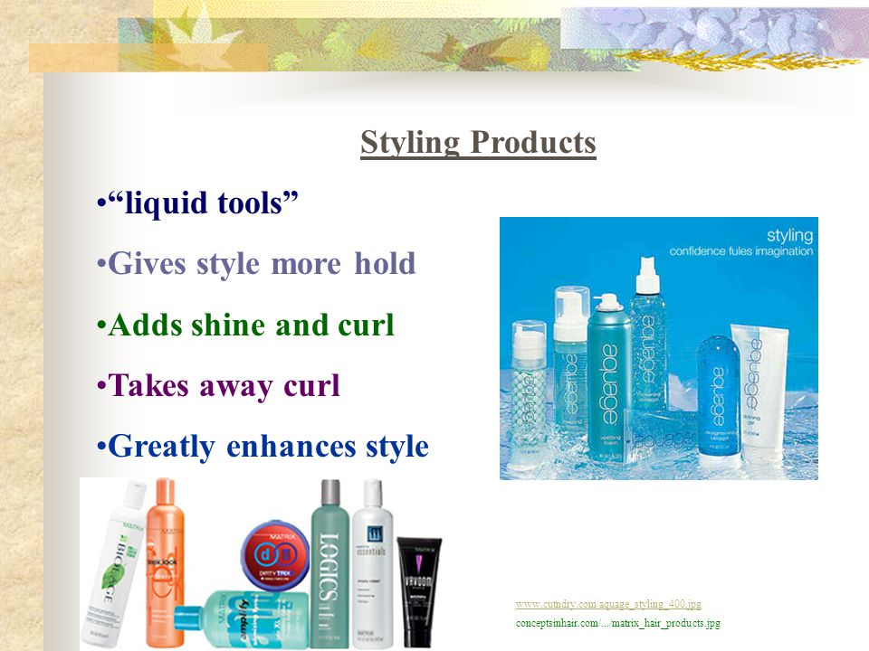 "Styling Products ""liquid tools"" Gives style more hold Adds shine and curl Takes away curl Greatly enhances style www.cutndry.com/aquage_styling_400.jp"