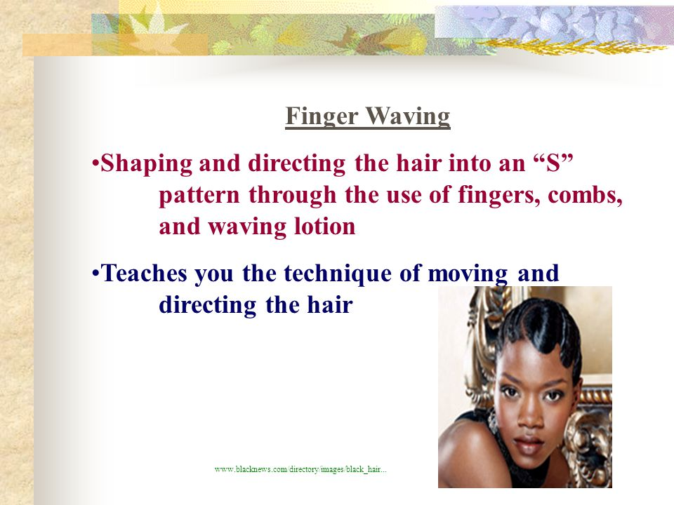 Basic French twist (not in textbook) -elegant, sleek look can go anywhere -straight, fine hair set first ***All hair is in the twist ***Level 1's set on wet set rollers first, then comb- out ***review pinning on page 501