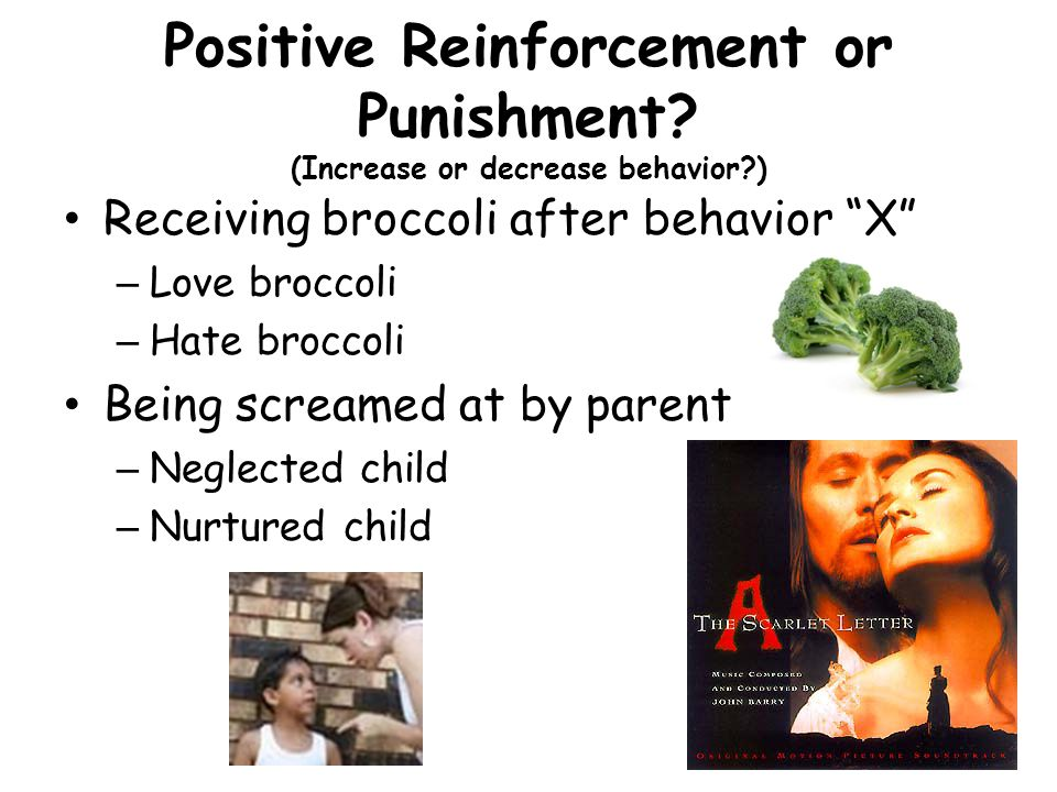 "Positive Reinforcement or Punishment? (Increase or decrease behavior?) Receiving broccoli after behavior ""X"" – Love broccoli – Hate broccoli Being scr"