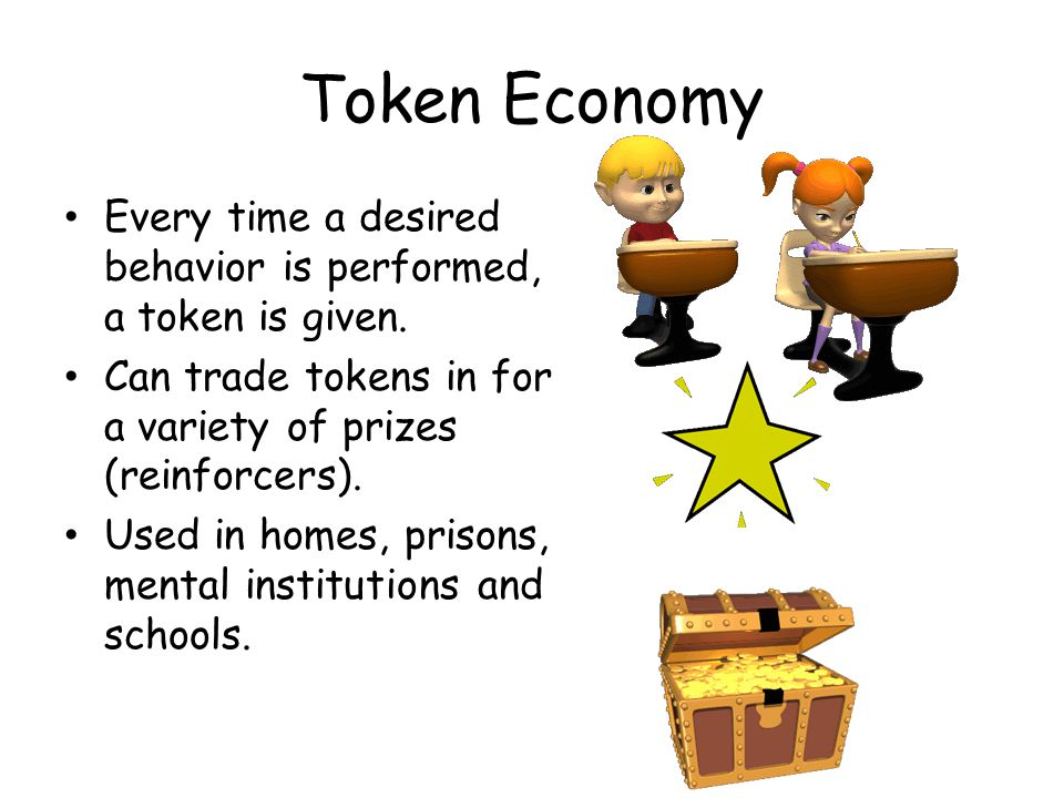 Token Economy Every time a desired behavior is performed, a token is given.