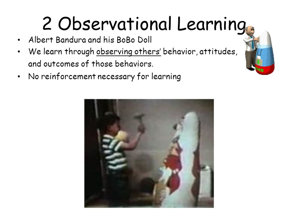 2 Observational Learning Albert Bandura and his BoBo Doll We learn through observing others' behavior, attitudes, and outcomes of those behaviors.