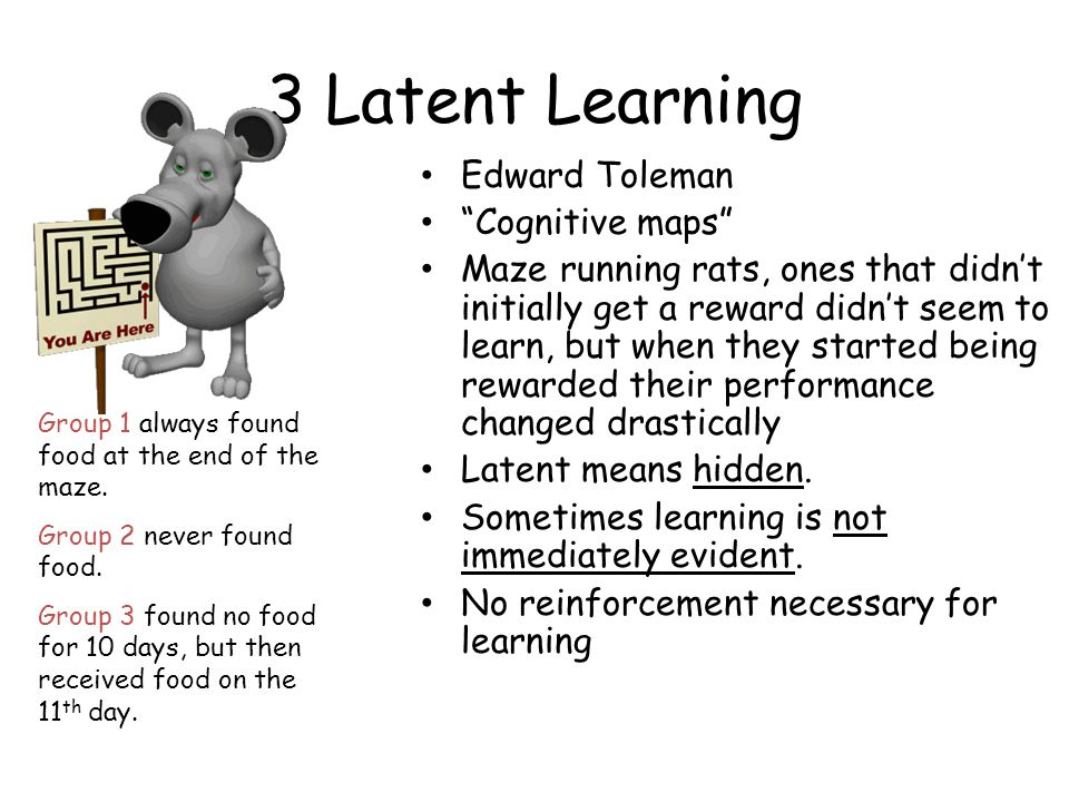 "3 Latent Learning Edward Toleman ""Cognitive maps"" Maze running rats, ones that didn't initially get a reward didn't seem to learn, but when they start"