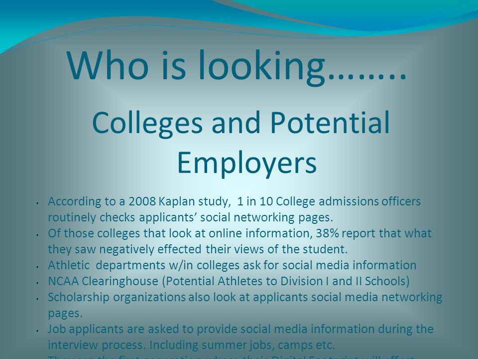 Who is looking…….. Colleges and Potential Employers According to a 2008 Kaplan study, 1 in 10 College admissions officers routinely checks applicants'