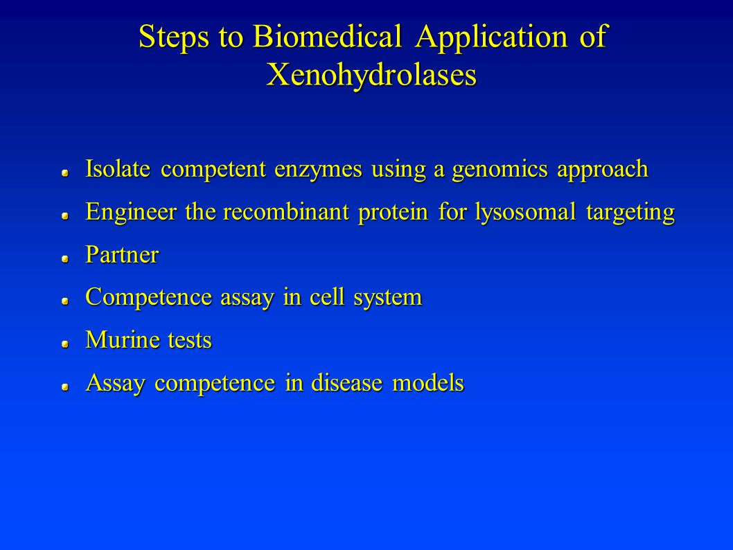 Steps to Biomedical Application of Xenohydrolases Isolate competent enzymes using a genomics approach Engineer the recombinant protein for lysosomal targeting Partner Competence assay in cell system Murine tests Assay competence in disease models