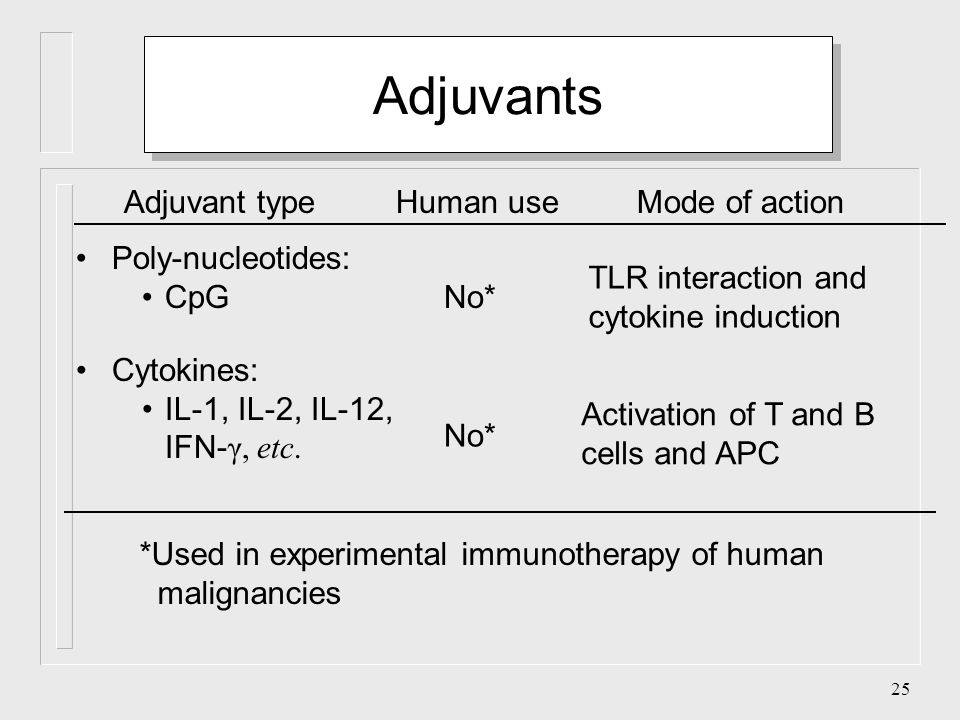 24 Adjuvants Human useMode of actionAdjuvant type Synthetic polymers: Liposomes ISCOM Poly-lactate Slow release of antigenNo Yes Bacteria: Bordetella pertussis Mycobacterium bovis (BCG and others) No TLR interaction and cytokine induction Bacterial products: Myramyl peptides No TLR interaction and cytokine induction