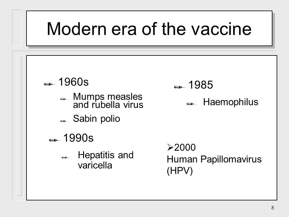 8 1960s Mumps measles and rubella virus Sabin polio 1990s Hepatitis and varicella 1985 Haemophilus Modern era of the vaccine  2000 Human Papillomavirus (HPV)