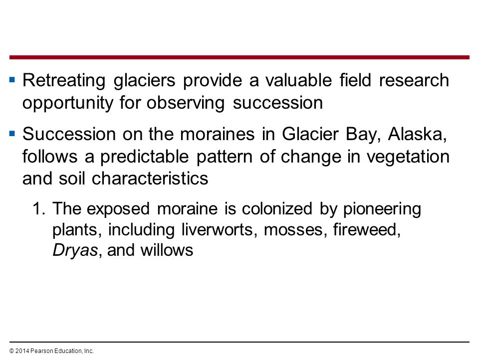 © 2014 Pearson Education, Inc.  Retreating glaciers provide a valuable field research opportunity for observing succession  Succession on the morain