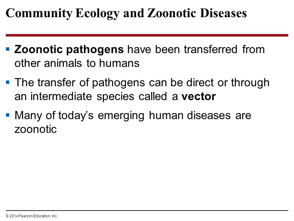 © 2014 Pearson Education, Inc. Community Ecology and Zoonotic Diseases  Zoonotic pathogens have been transferred from other animals to humans  The t