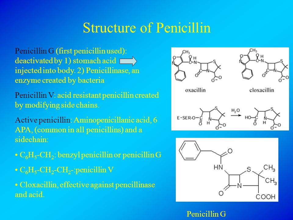 Structure of Penicillin Penicillin G (first penicillin used): deactivated by 1) stomach acid injected into body. 2) Penicillinase, an enzyme created b