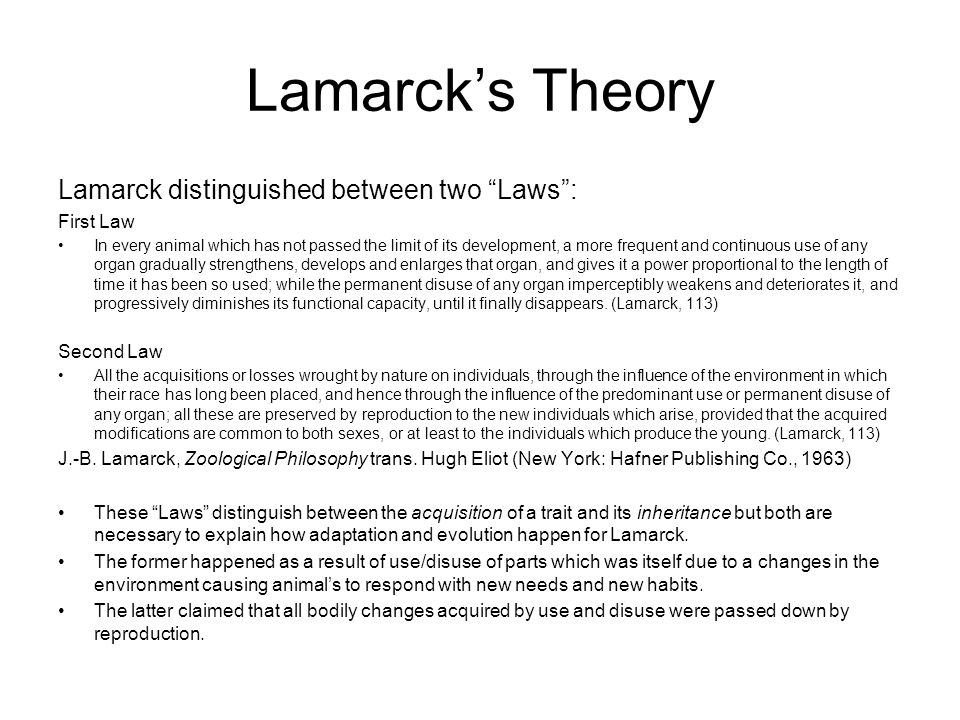 Lamarck's Theory Lamarck distinguished between two Laws : First Law In every animal which has not passed the limit of its development, a more frequent and continuous use of any organ gradually strengthens, develops and enlarges that organ, and gives it a power proportional to the length of time it has been so used; while the permanent disuse of any organ imperceptibly weakens and deteriorates it, and progressively diminishes its functional capacity, until it finally disappears.