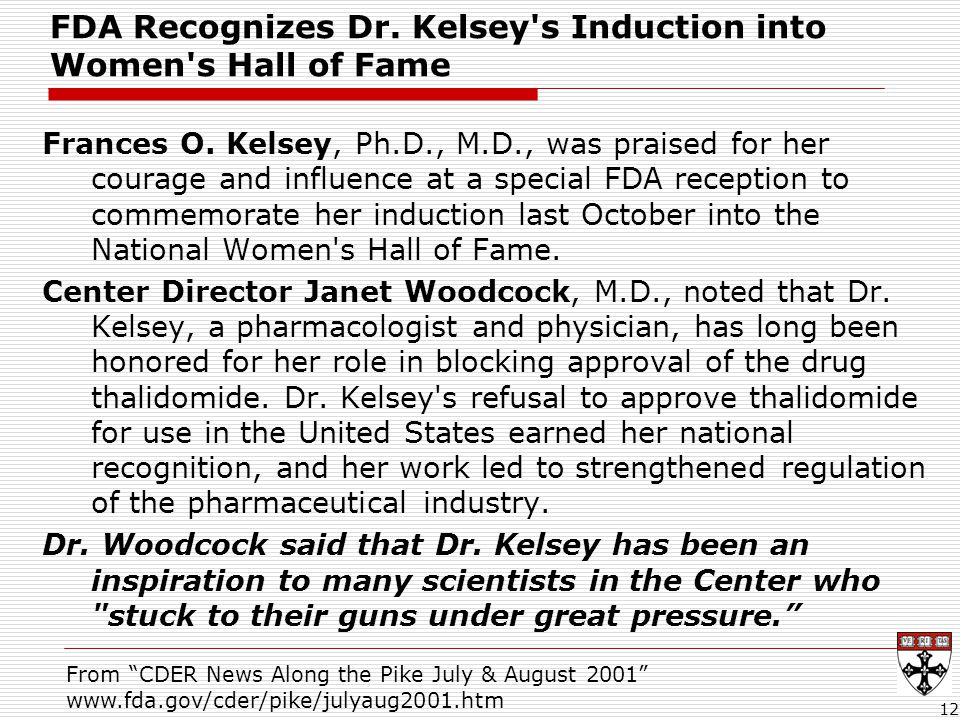 FDA Recognizes Dr.Kelsey s Induction into Women s Hall of Fame Frances O.