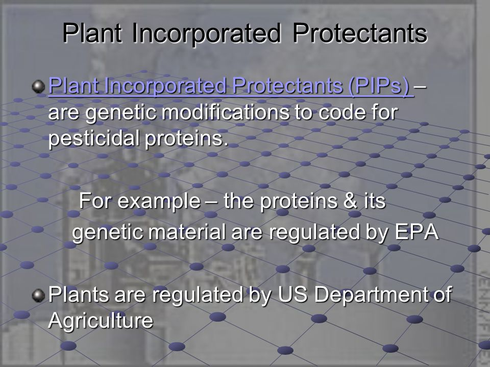 Biopesticides Microbial Pesticides – microorganisms as active ingredients (bacterium, fungus) Plant-pesticides – PIPs Plant-pesticides – PIPs Biochemical pesticides – naturally occurring by non-toxic mechanisms (sex pheromones