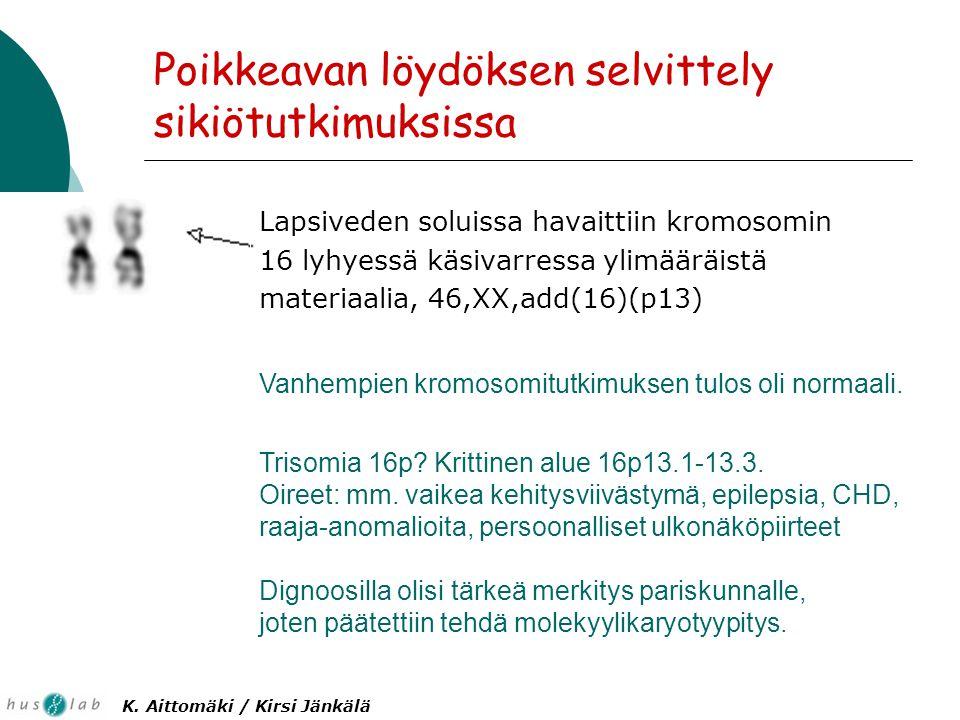 Poikkeavan löydöksen selvittely sikiötutkimuksissa Lapsiveden soluissa havaittiin kromosomin 16 lyhyessä käsivarressa ylimääräistä materiaalia, 46,XX,add(16)(p13) Vanhempien kromosomitutkimuksen tulos oli normaali.