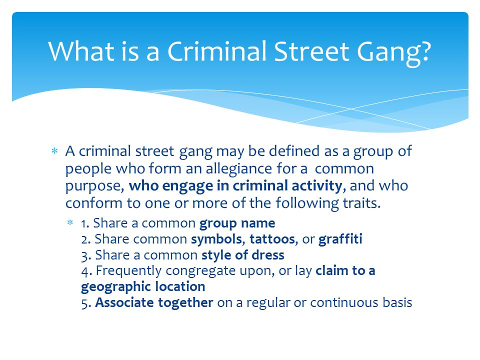  A criminal street gang may be defined as a group of people who form an allegiance for a common purpose, who engage in criminal activity, and who conform to one or more of the following traits.