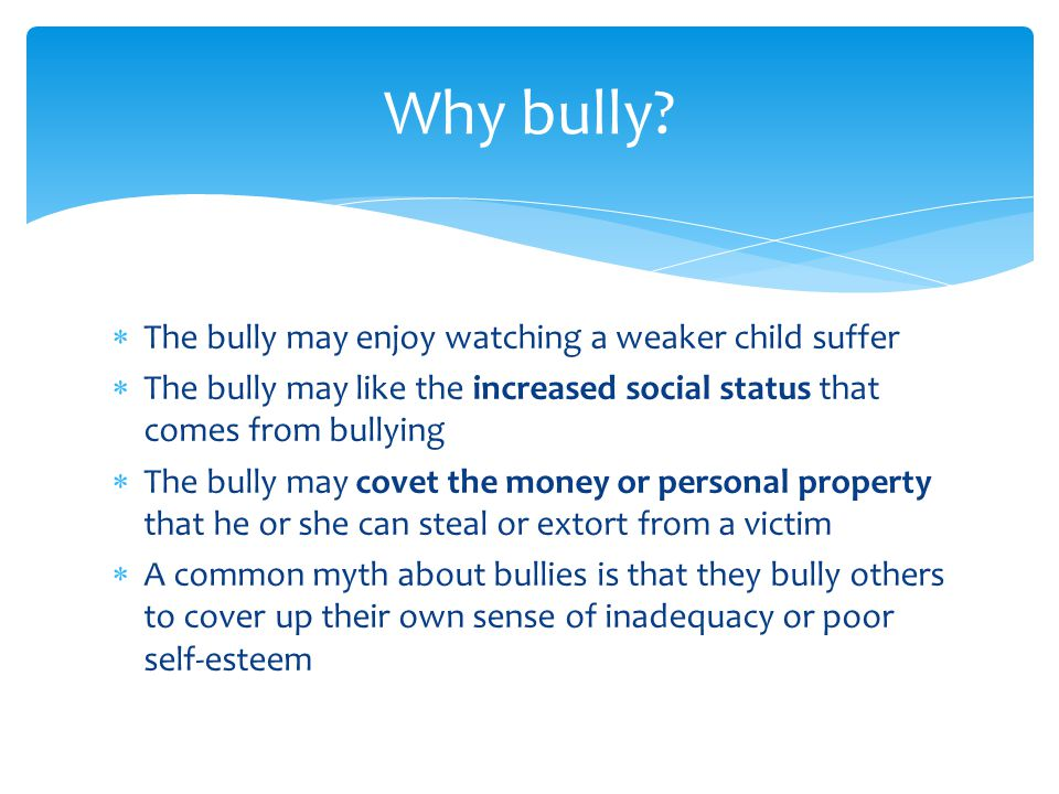  The bully may enjoy watching a weaker child suffer  The bully may like the increased social status that comes from bullying  The bully may covet the money or personal property that he or she can steal or extort from a victim  A common myth about bullies is that they bully others to cover up their own sense of inadequacy or poor self-esteem Why bully
