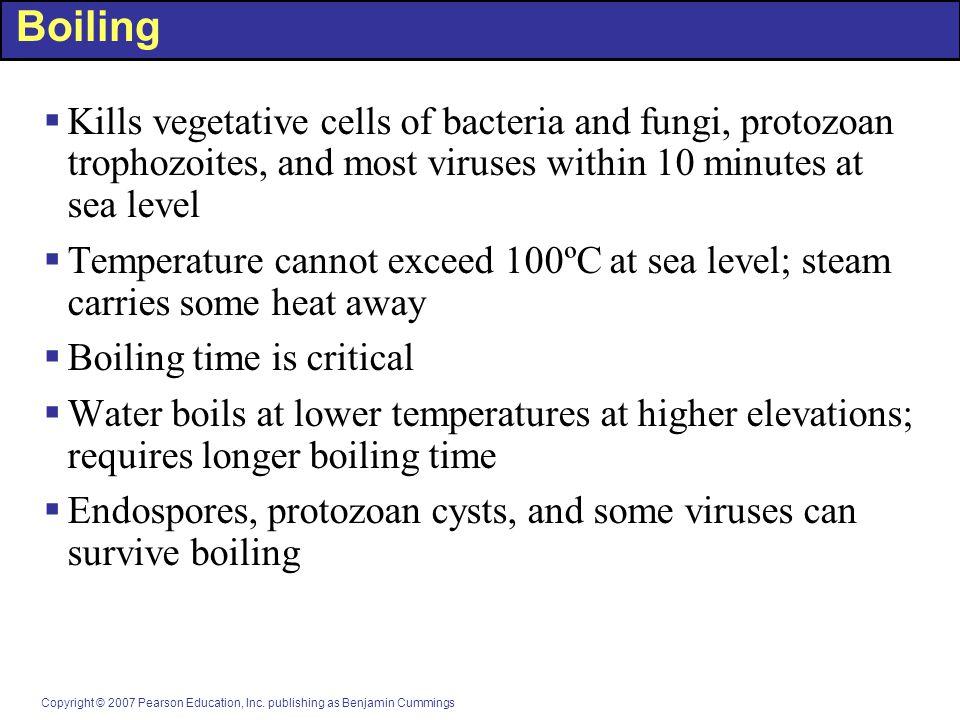 Copyright © 2007 Pearson Education, Inc. publishing as Benjamin Cummings Boiling  Kills vegetative cells of bacteria and fungi, protozoan trophozoite