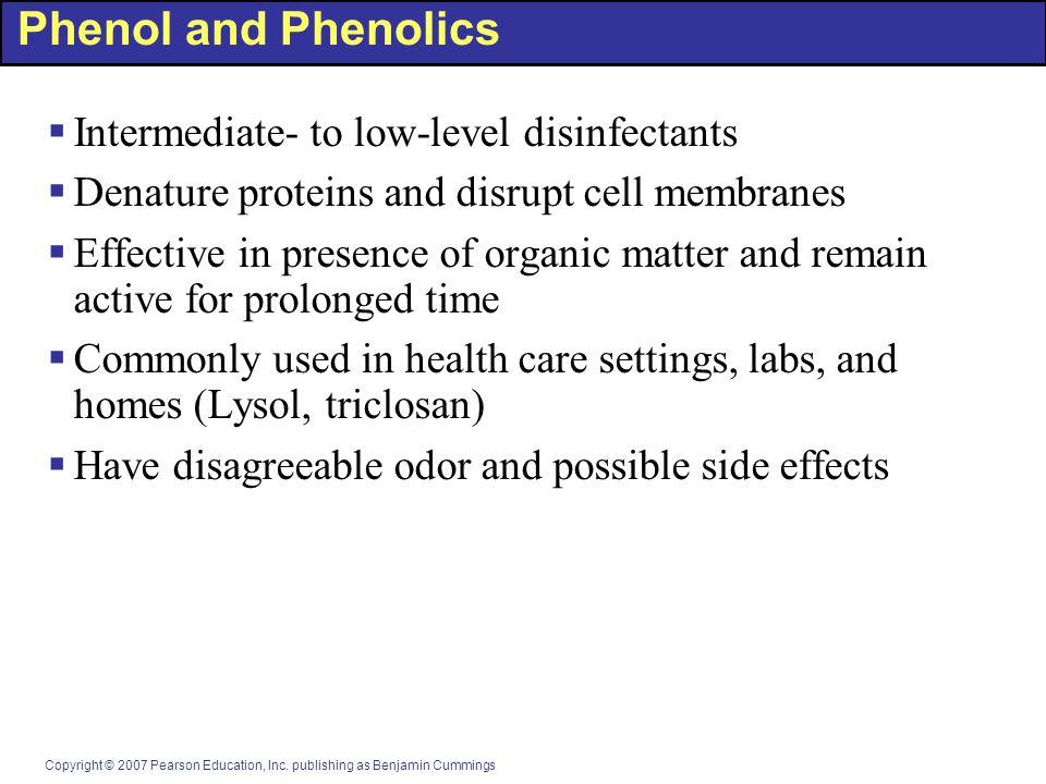 Copyright © 2007 Pearson Education, Inc. publishing as Benjamin Cummings Phenol and Phenolics  Intermediate- to low-level disinfectants  Denature pr