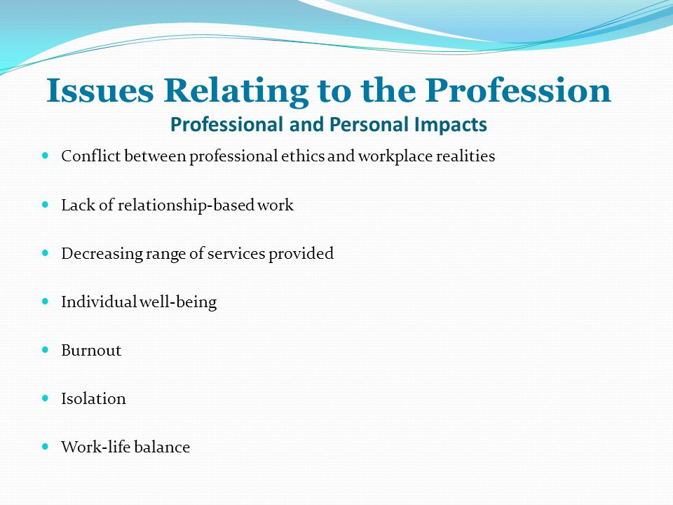 Issues Relating to the Profession Professional and Personal Impacts Conflict between professional ethics and workplace realities Lack of relationship-based work Decreasing range of services provided Individual well-being Burnout Isolation Work-life balance