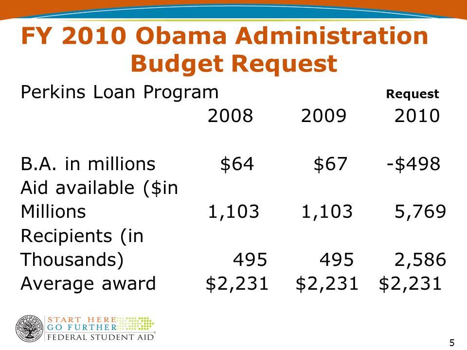 FY 2010 Obama Administration Budget Request Perkins Loan Program Request 200820092010 B.A.
