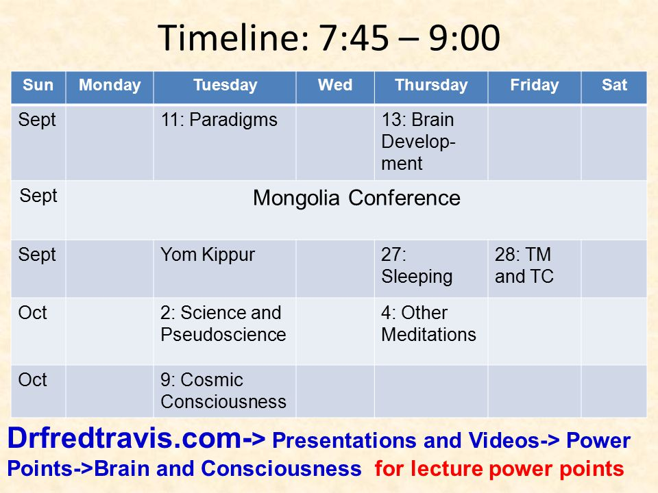 SunMondayTuesdayWedThursdayFridaySat Sept11: Paradigms13: Brain Develop- ment Sept Mongolia Conference SeptYom Kippur27: Sleeping 28: TM and TC Oct2: Science and Pseudoscience 4: Other Meditations Oct9: Cosmic Consciousness Timeline: 7:45 – 9:00 Drfredtravis.com- > Presentations and Videos-> Power Points->Brain and Consciousness for lecture power points