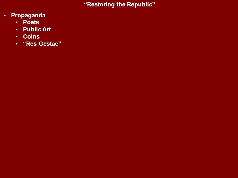 """Restoring the Republic"" Propaganda Poets Public Art Coins ""Res Gestae"""