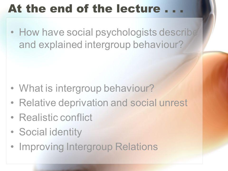 What is intergroup behaviour.