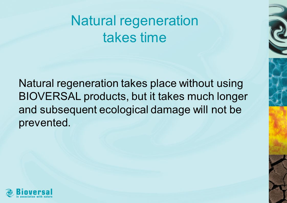 Natural regeneration takes time Natural regeneration takes place without using BIOVERSAL products, but it takes much longer and subsequent ecological damage will not be prevented.