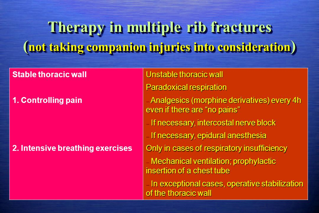 Therapy in multiple rib fractures ( not taking companion injuries into consideration ) Stable thoracic wall Unstable thoracic wall Paradoxical respira