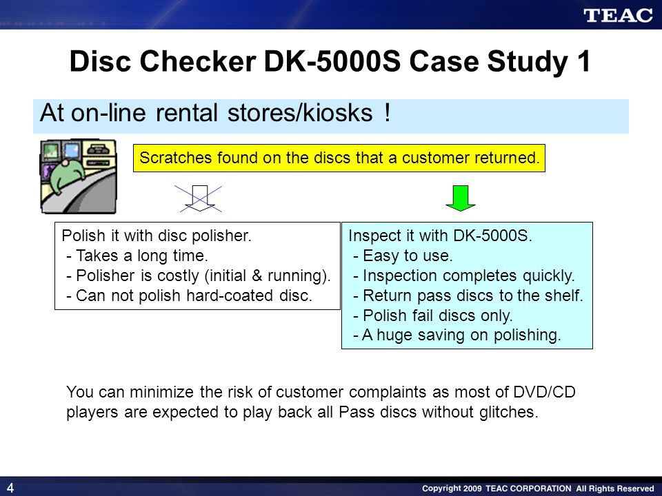 4 Disc Checker DK-5000S Case Study 1 At on-line rental stores/kiosks ! Scratches found on the discs that a customer returned. Polish it with disc poli