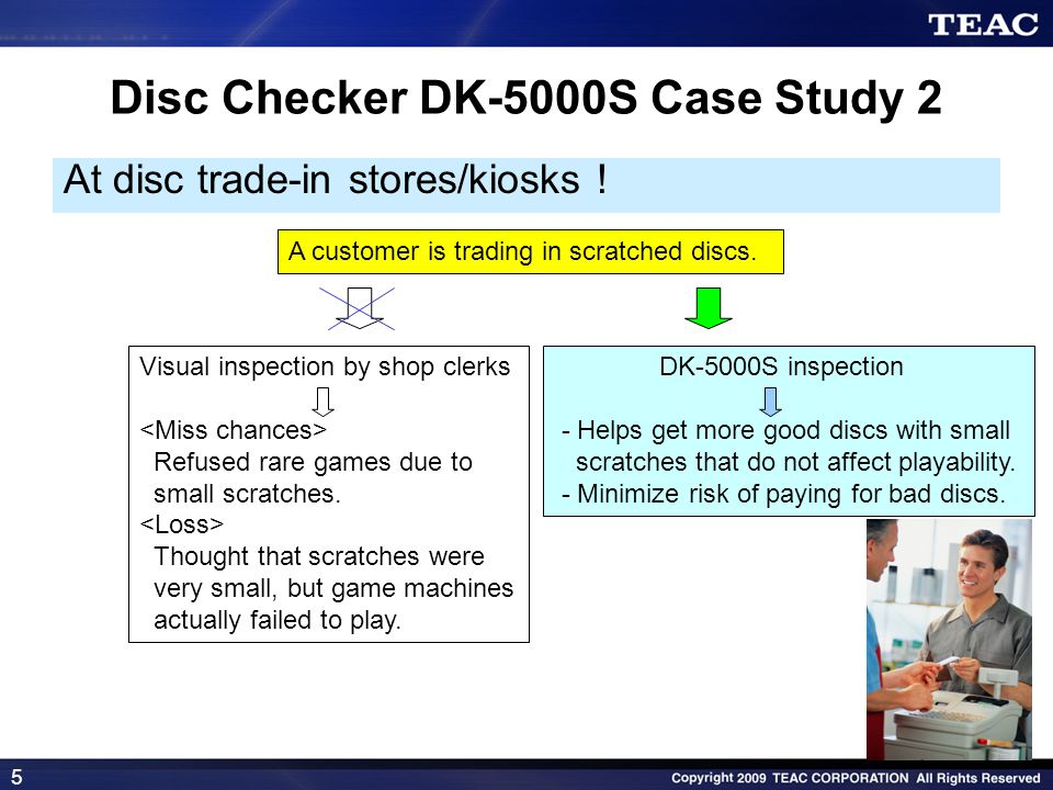 5 Disc Checker DK-5000S Case Study 2 At disc trade-in stores/kiosks ! A customer is trading in scratched discs. Visual inspection by shop clerks Refus