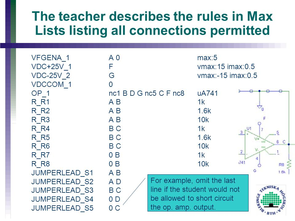 The teacher describes the rules in Max Lists listing all connections permitted VFGENA_1 A 0max:5 VDC+25V_1 F vmax:15 imax:0.5 VDC-25V_2 G vmax:-15 ima