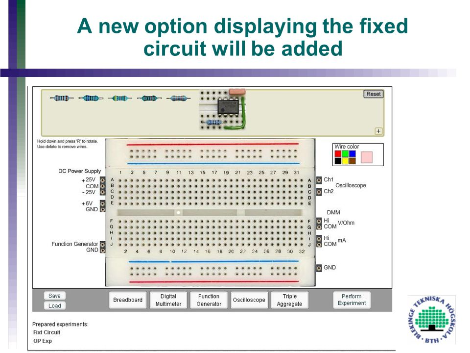 A new option displaying the fixed circuit will be added