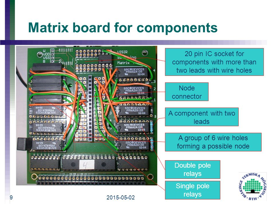 Matrix board for components 2015-05-02 ICBL 2008 9 A group of 6 wire holes forming a possible node Node connector 20 pin IC socket for components with