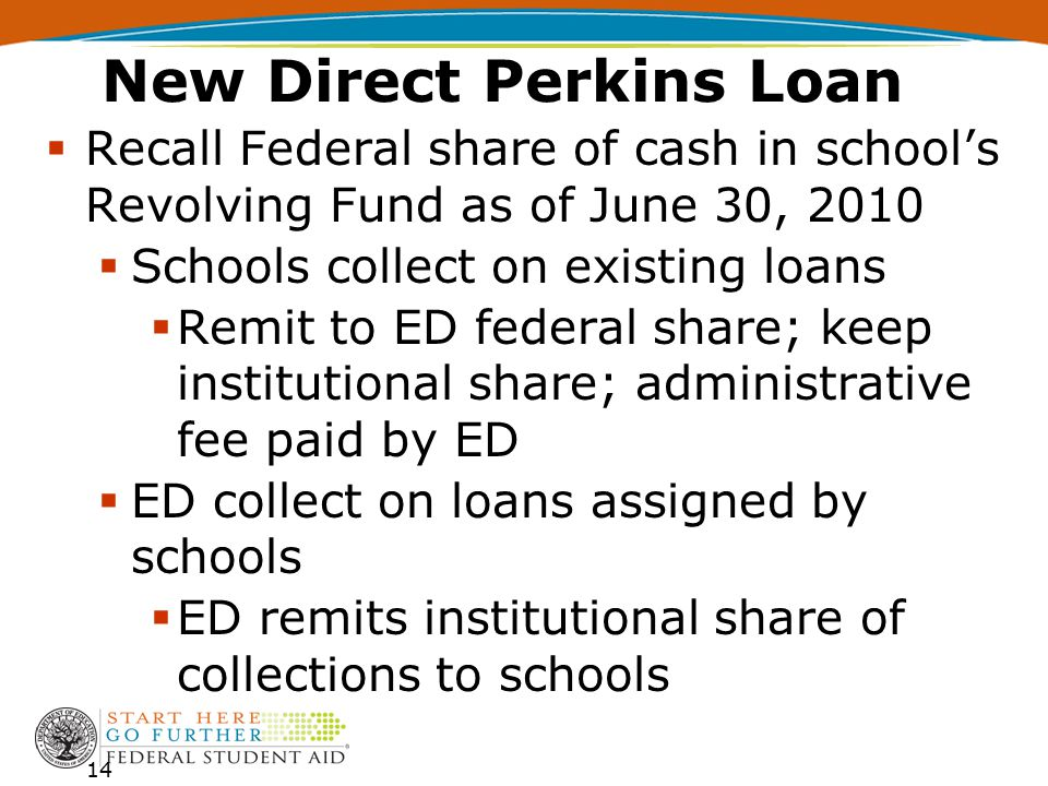 New Direct Perkins Loan  Recall Federal share of cash in school's Revolving Fund as of June 30, 2010  Schools collect on existing loans  Remit to ED federal share; keep institutional share; administrative fee paid by ED  ED collect on loans assigned by schools  ED remits institutional share of collections to schools 14