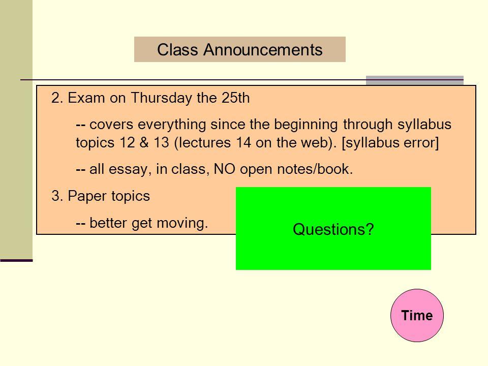 Class Announcements 1.