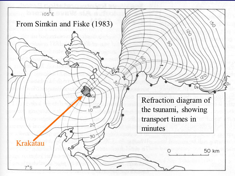 Refraction diagram of the tsunami, showing transport times in minutes From Simkin and Fiske (1983) Krakatau