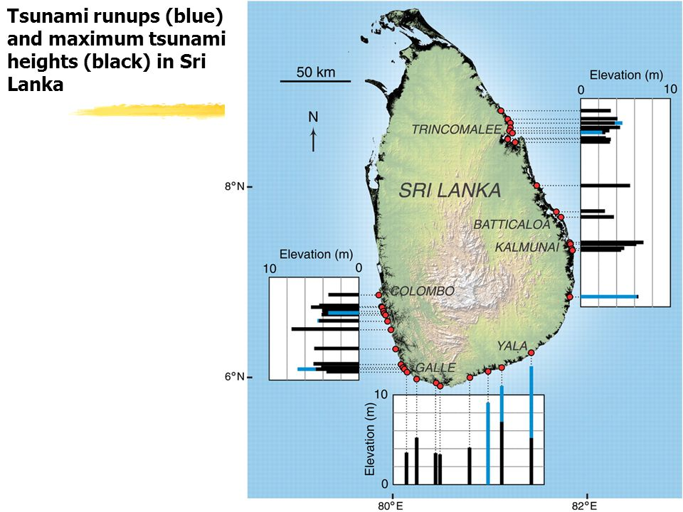 From Liu et al 2005, Science Tsunami runups (blue) and maximum tsunami heights (black) in Sri Lanka