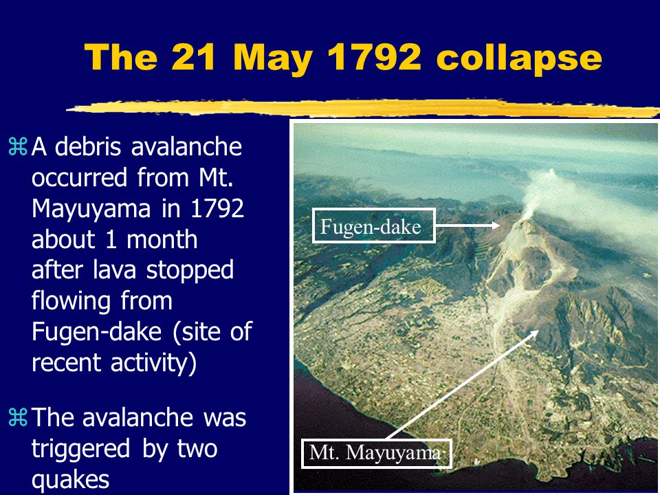 The 21 May 1792 collapse zA debris avalanche occurred from Mt.