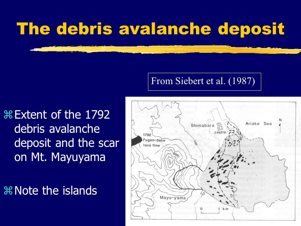 The debris avalanche deposit zExtent of the 1792 debris avalanche deposit and the scar on Mt.