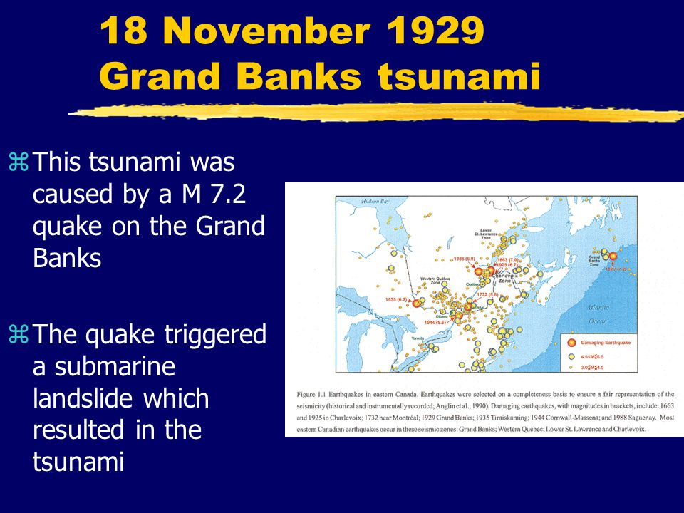 18 November 1929 Grand Banks tsunami zThis tsunami was caused by a M 7.2 quake on the Grand Banks zThe quake triggered a submarine landslide which resulted in the tsunami